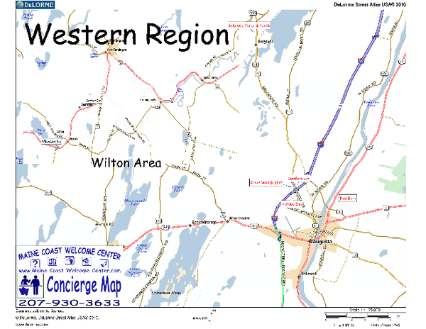 Western Maine USA Map Farmington Me Mappery - Map of maine usa