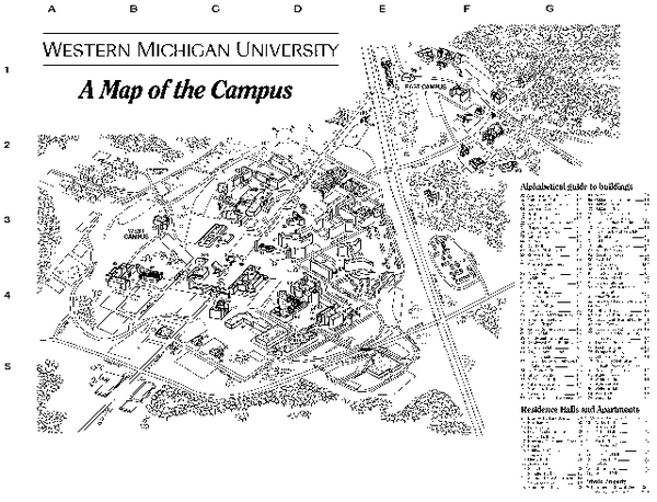 Western Michigan University Map - Kalamazoo Michigan • mappery