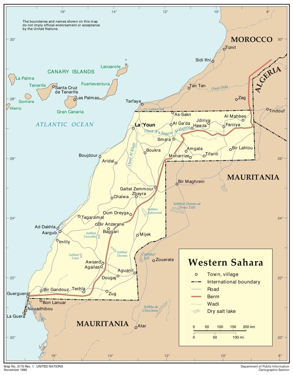 Western Sahara Map Western Sahara Africa Mappery - Western sahara map
