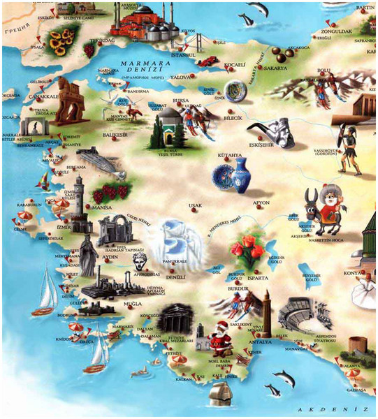 Western Turkey Tourist Map marmara mappery – Tourist Attractions Map In Turkey