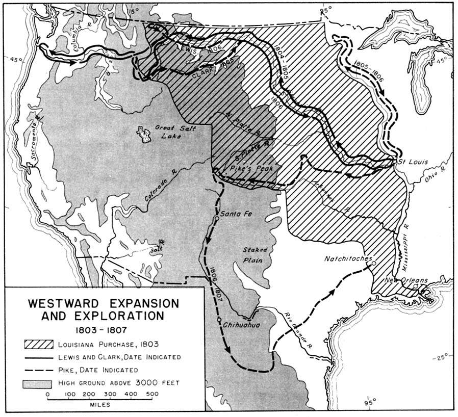 Westward Expansion In United States 1803 1807 Historical Map United States Mappery