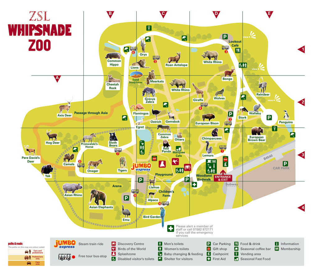 Whipsnade Zoo Map Dunstable LU6 2LF United Kingdomlrm mappery