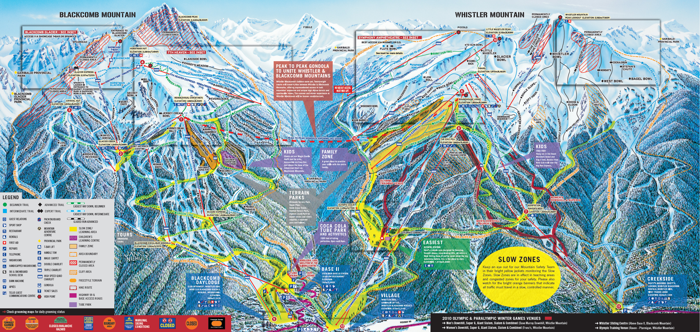 Whistler Blackcomb Ski Trail Map 2007 2008 Whistler BC Canada mappery
