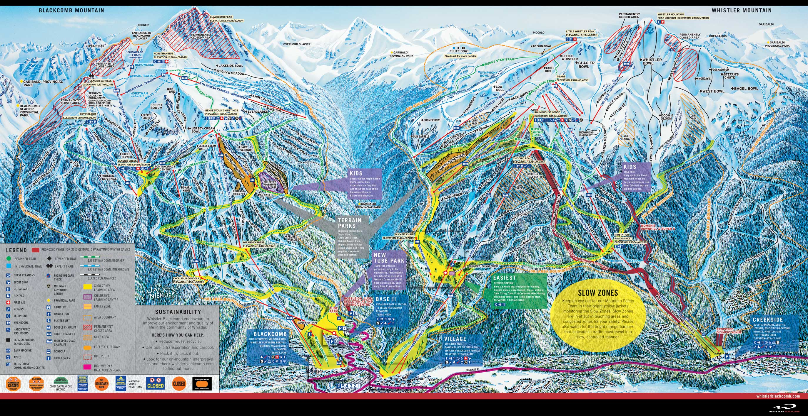whistler blackcomb ski trail map 2005-06 - whistler canada • mappery