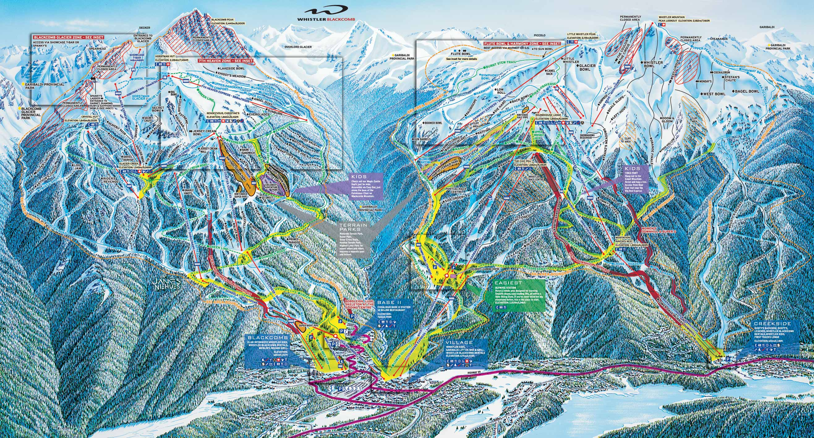 whistler blackcomb trail map - whistler bc • mappery