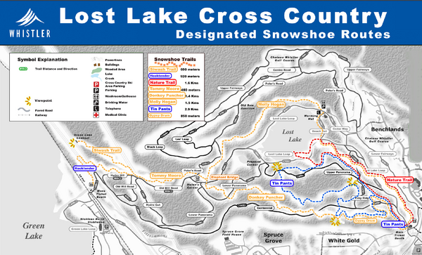 Whistler Cross Country Connection Snowshoeing Ski Trail Map
