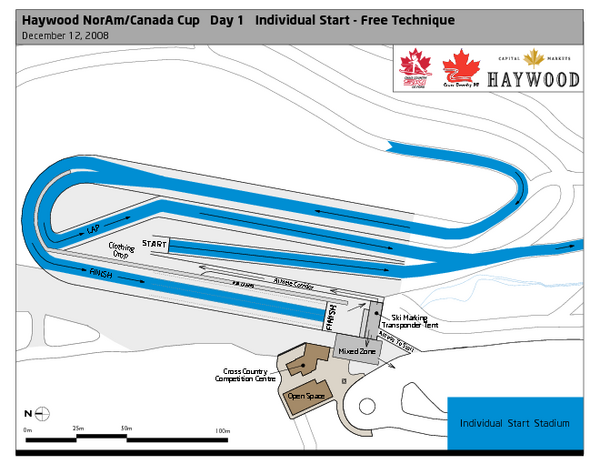 Whistler Olympic Park (Callaghan Nordic Centre) NorAm—Free Tech.—Stadium Ski Trail Map