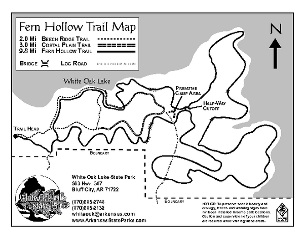 White Oak Lake State Park Trail Map
