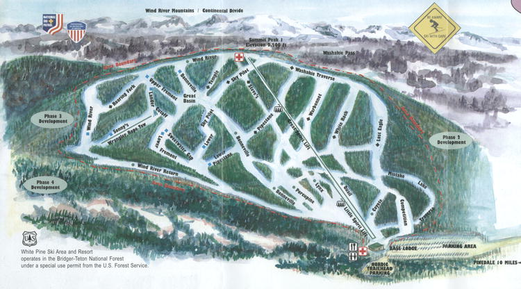 Ski Areas In Wyoming Map.White Pine Ski Area Ski Trail Map Wyoming United States Mappery