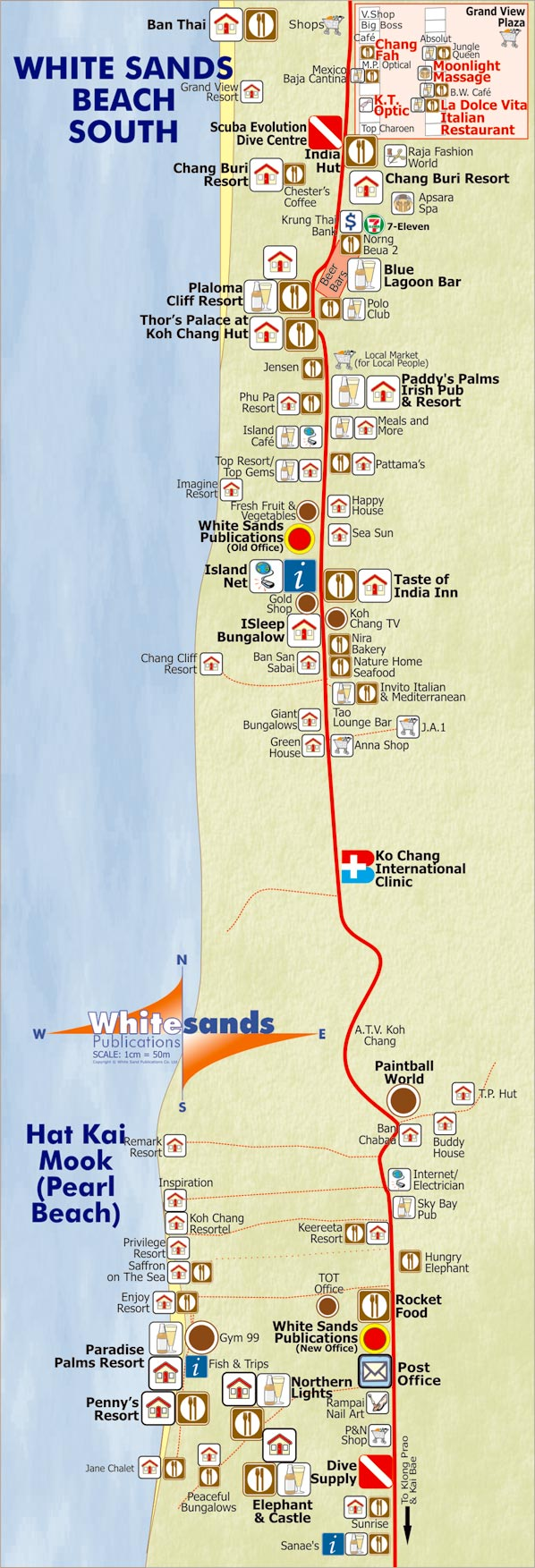 Map Of White Sands Beach Koh Chang