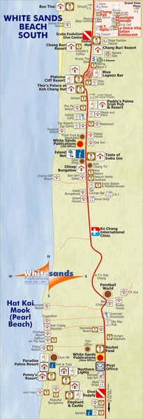 White Sands Beach, Koh Chang Map