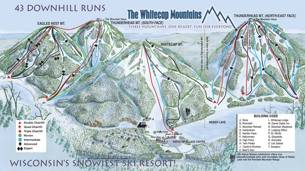 Whitecap Mountains Ski Trail Map