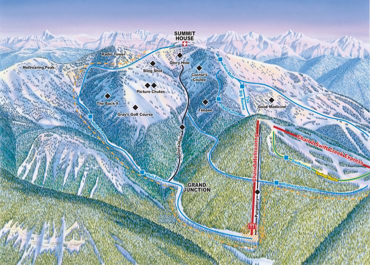 Whitefish Mountain Resort Hellroaring Ski Trail Map