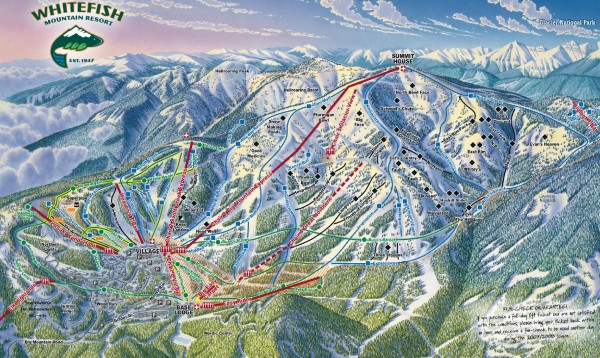 Whitefish Mountain Ski Trail Map - Front Side