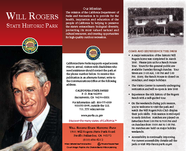 Will Rogers State Historic Park Map