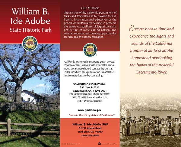 William B. Ide Adobe State Historic Park Map