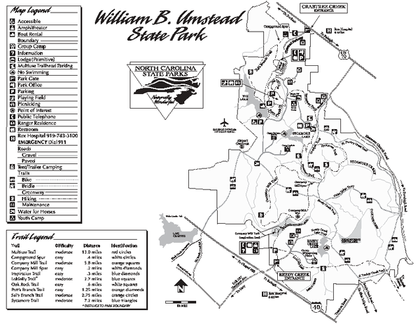 William B. Umstead State Park map