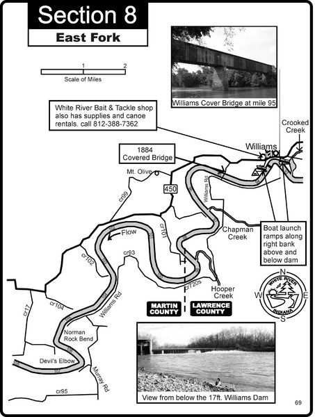 Williams, IN White River East Fork Map