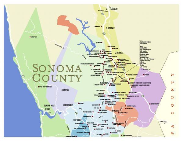 Kenwood Ca Map Wineries in Sonoma County California Map   sonoma ca • mappery