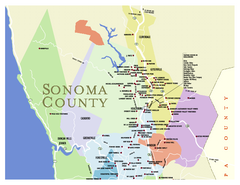 Wineries in Sonoma County, California Map