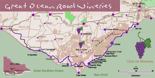 Wineries on Great Ocean Road, Australia Map