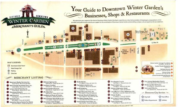 Winter Garden Merchants Guild Map Winter Garden Florida