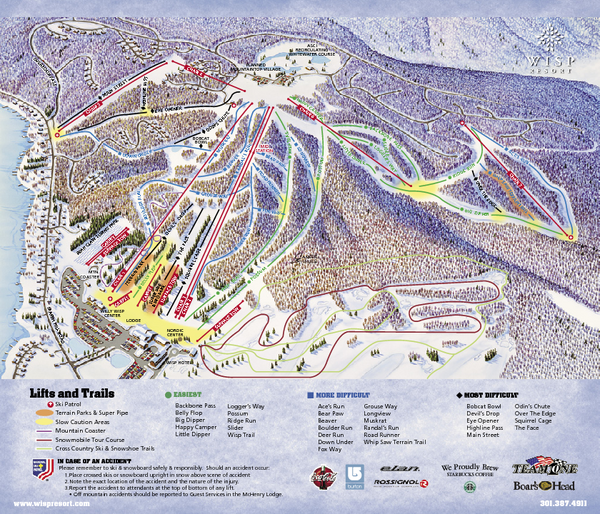 Wisp at Deep Creek Mountain Resort Ski Trail Map