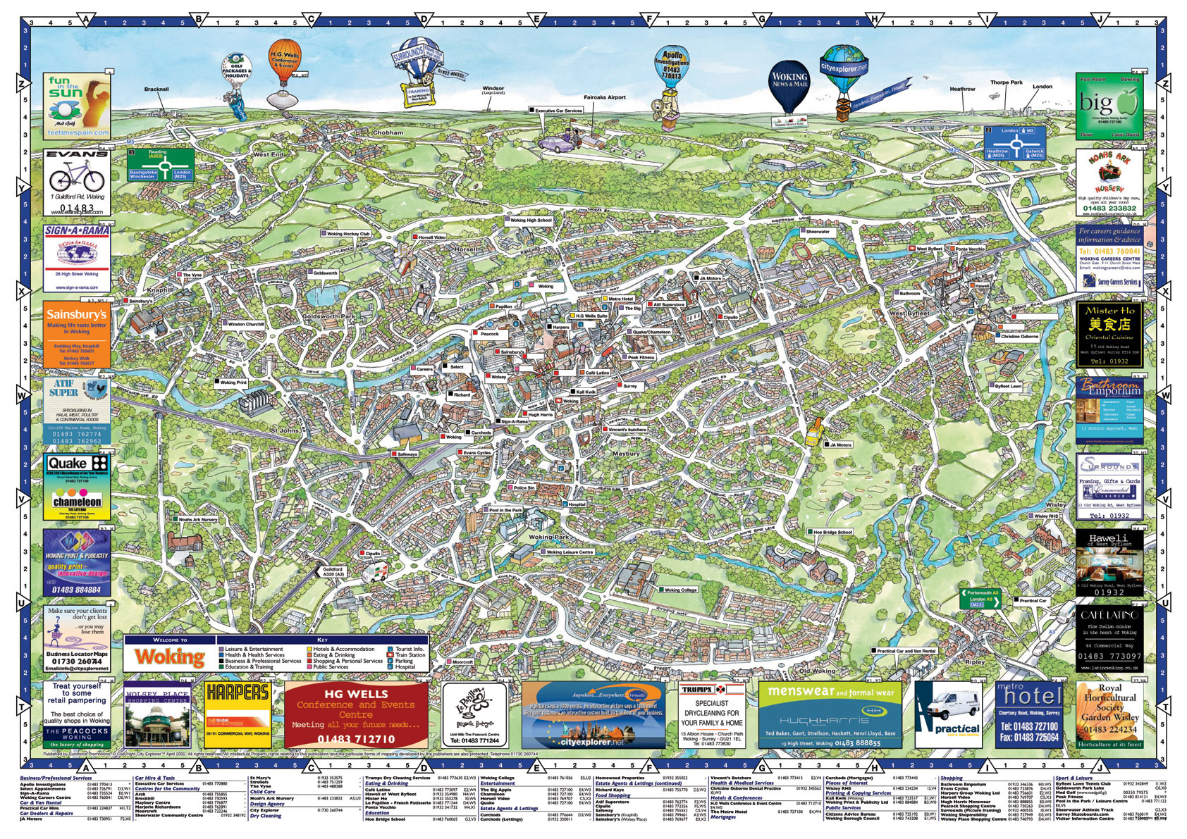 Woking Tourist Map Woking Surrey mappery