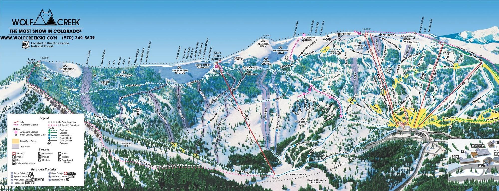 Wolf Creek Ski Trail Map - Pagosa Springs Colorado • mappery