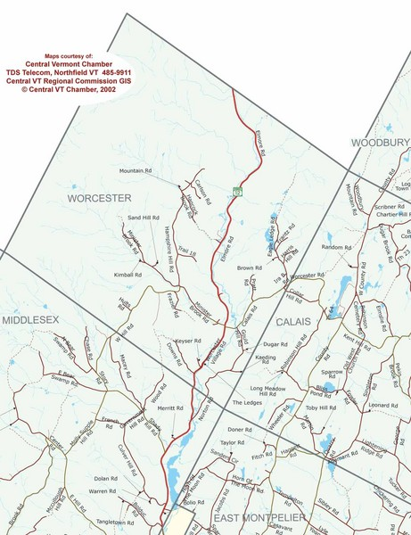 Map Of Vermont. Town map of Worcester, Vermont