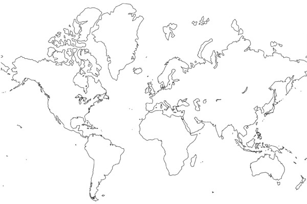 World Outline Map - World • mappery