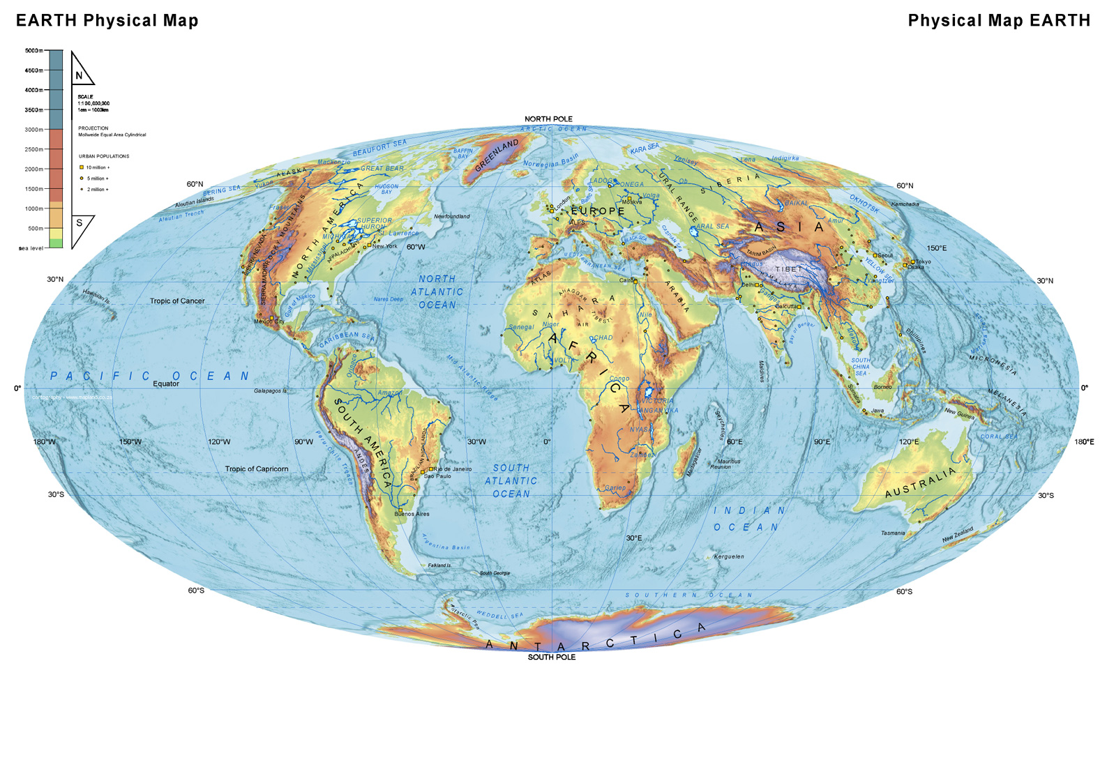 World Physical Map world mappery