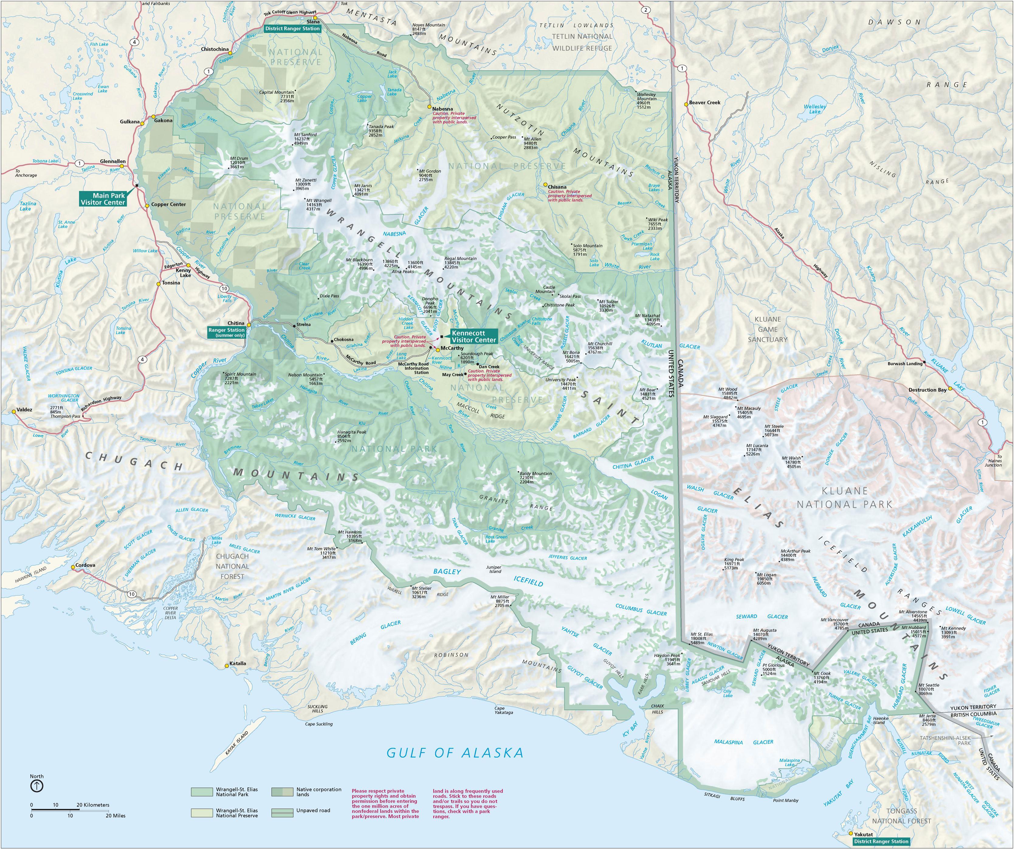 WrangellSt Elias National Park Map Chitina Alaska USA mappery