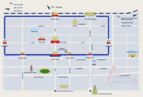Xian City Map Xian China mappery – Xian Tourist Map