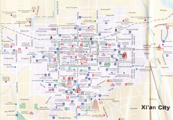 Xian City Tourist Map