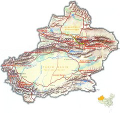 Xinjiang China Tourist Map