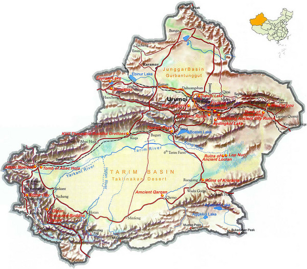 Xinjiang Region of China Tourist Map