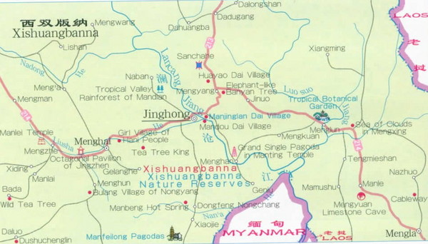 Xishuangbanna, Yunnan ,China Map