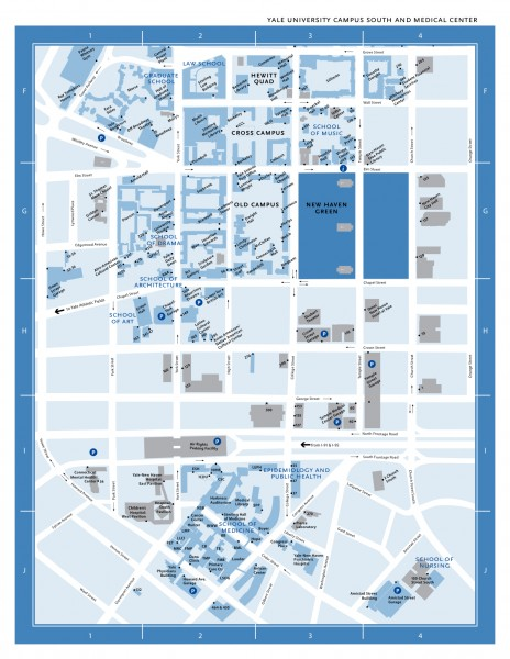 Yale University Campus South and Medical Center Map