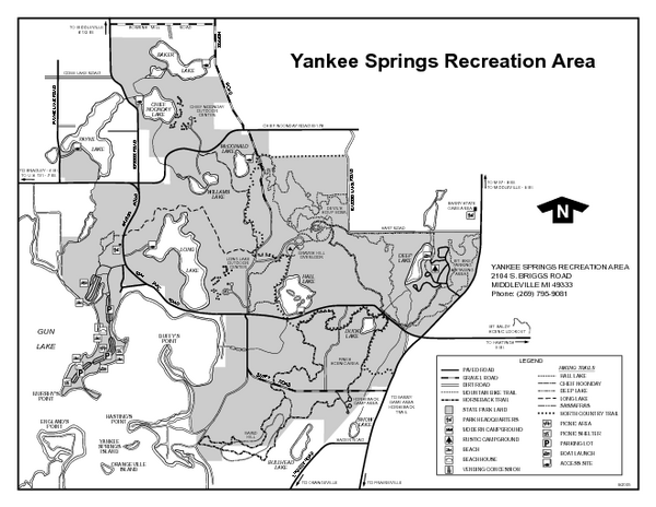 Yankee Springs Recreation Area, Michigan Site Map