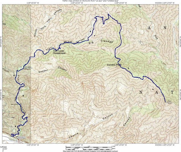 Ybarra Canyon Trail Map