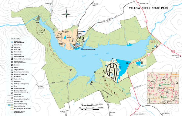 Yellow Creek State Park map - Penn Run PA 15765-5941 • mappery on keystone state park campground map, lake berryessa cabin map, keystone lake cabins state parks, robbers cave state park map, keystone state park cabin rates, lake murray cabin map,