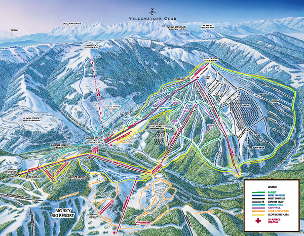 Yellowstone Club Ski Trail Map Big Sky Montana United States Mappery