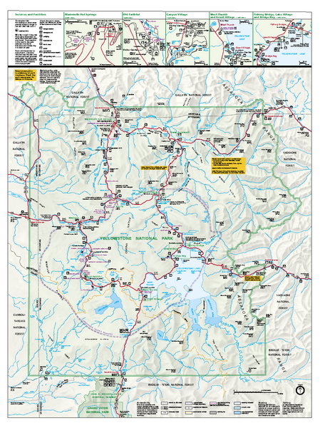 Yellowstone National Park official map - Yellowstone National Park ...