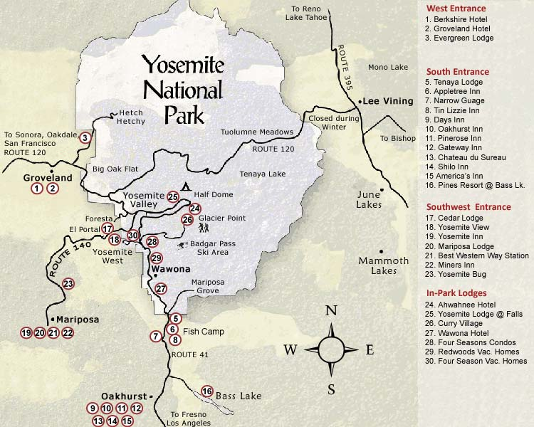 Yosemite National Park Map Yosemite Ca Mappery