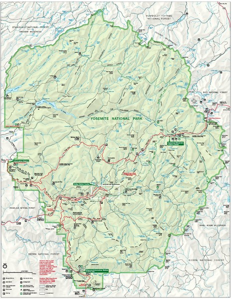 Yosemite National Park Map - Yosemite California USA • mappery