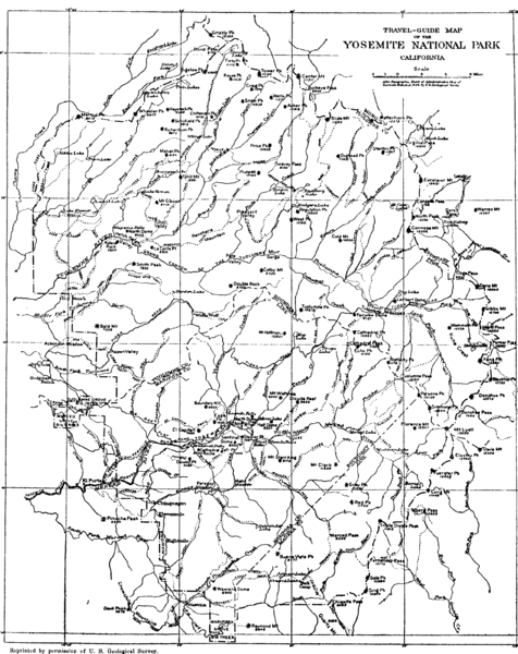 Map of Yosemite Park before valley development, showing only Portal Road