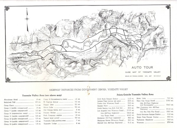 Yosemite Valley Auto Tour Map