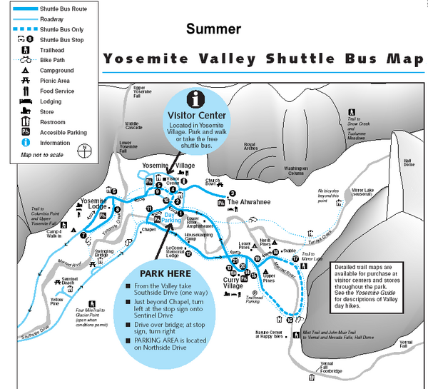 Yosemite Valley Shuttle Map - Yosemite Valley • mappery
