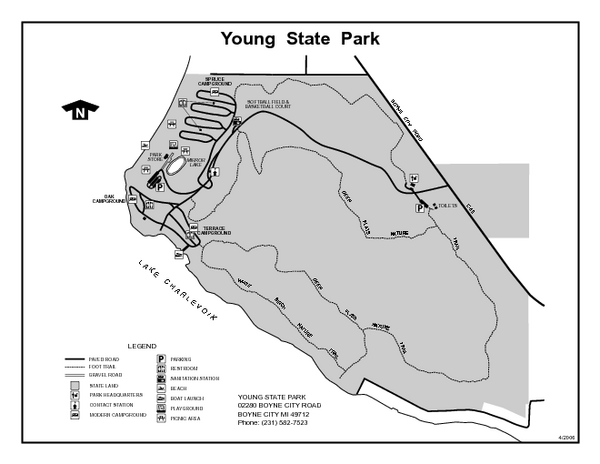 Young State Park Michigan Site Map Young State Park Mi Mappery